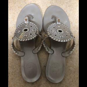 Jack Rogers size 9 silver flip flops